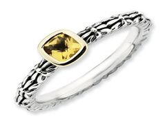 Checkerboard Cut Citrine Sterling Silver 14K Gold Stackable Ring (Online at Gemologica.com)
