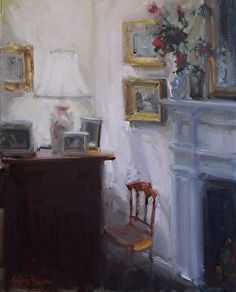 """Corner by the Fire by Karen Lawrence Oil ~ 20"""" x 16"""""""