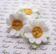 White Wool Felt Flowers