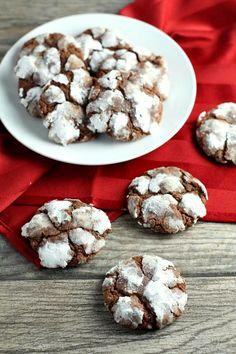 Chocolate Mint Snowtop Cookies - RecipeGirl.com