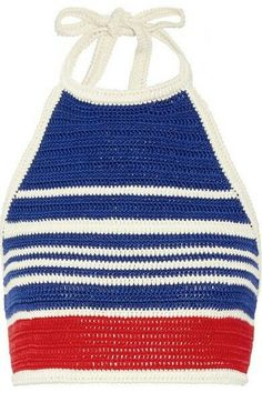 Crochet Halter Tops, Crochet Bikini Top, Crochet Blouse, Knit Crochet, Royal Blue Shirts, Cotton Crop Top, Blue Crop Tops, Crochet Fashion, Crochet Clothes