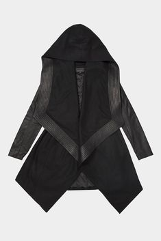 Draped wool with leather hood trim fitted leather sleeves and built in waist belt closure.-Made to order