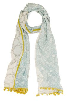 Cheerful Company Scarf by Disaster Designs - Blue, White, Paisley, Casual, Boho, Minimal, Spring, Summer, Cotton, Woven, Yellow, Poms, Trim