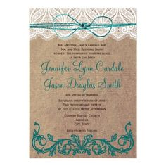 These brown and turquoise distressed rustic country wedding invitations have a distressed vintage brown paper background with a textured look with an ornate floral scroll border in teal turquoise blue on the bottom.  The top of the invitation has a printed lace border with a teal blue twine bow.  ♥ For more rustic wedding invitations see http://www.zazzle.com/rustic+wedding+invitations?rf=238252963030229232&tc=wpz  ♥