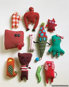 "Stuffed ""monsters"" based on children's drawings. Would be a fun fabric-art project for students!"