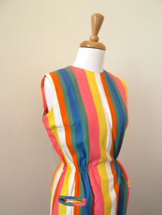 50s Rainbow Wiggle Dress / 1950s Color Block by missmittensvintage, $95.00