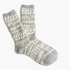 J.Crew Gift Guide: women's cozy trouser socks in Fair Isle.