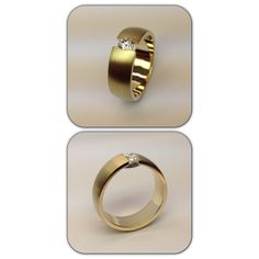 Yellow gold ring with 0,35ct diamond