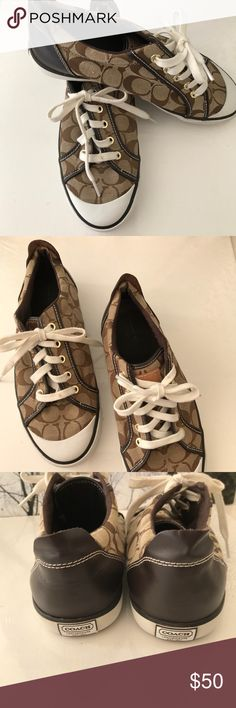 Fashion Sneakers Coach Barrett in Signature style with Brown Patent Leather in the back. These have been used Gently. Still looks beautiful and good.  Size:10 Color:Brown Coach Shoes Sneakers