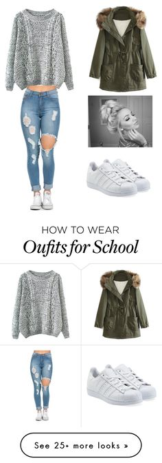 """School outfit✏"" by moderngirl2000 on Polyvore featuring adidas Originals, WithChic, women's clothing, women, female, woman, misses and juniors"