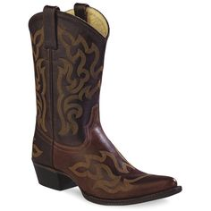 Old West Brown & Burnt Umber Stitched Leather Cowboy Boot ($50) ❤ liked on Polyvore featuring shoes, boots, mid-calf boots, embroidered boots, brown leather boots, leather western boots, cowgirl boots and brown boots