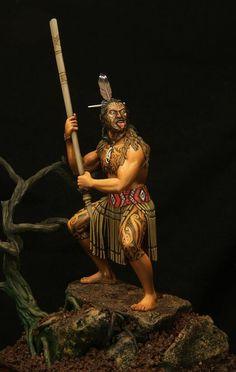 Maori Warrior - Virtual Museum of Historical Miniatures Deadliest Warrior, Maori Patterns, Waterloo 1815, Maori People, Tiki Art, Maori Art, Fantasy Races, Virtual Museum, Le Far West