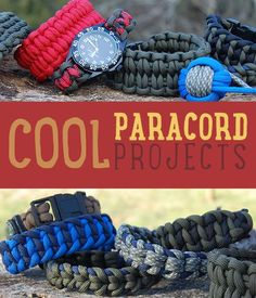 Cool Paracord Projects Ideas for 550 Cord Bracelets, Belts, Keychains, Watchbands and More http://diyready.com/cool-paracord-projects/