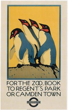 British Railway poster promoting travel to Camdown Town or Regents Park - to visit the Zoo