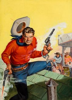 Pulp and Paperback Art, SAM CHERRY (American, 1903-1975). Cowboy Shootout, western pulp  cover, circa 1940s.
