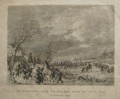 overtocht in winters landschap over de rivier de Waal van de Fransen in 1795. Ets. D. Lagendijk.