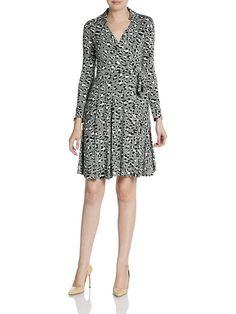 $368 Diane von Furstenberg T72 wrap dress in Spotted Black & White Print Size 10 #DVF #WrapDress #Casual