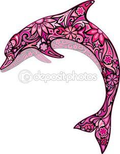 Delfín rosado — Vector de stock