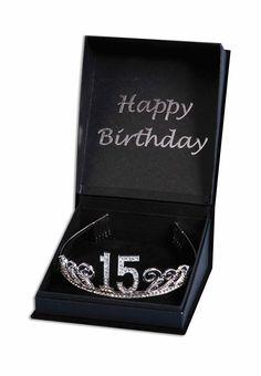 Amazon.com: Forum Novelties Rhinestone Encrusted 15th Happy Birthday Tiara with Keepsake Box: Toys & Games