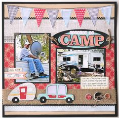 """""""Setting up camp"""" layout made with the Pack Your Bags cartridge! This is the perfect layout for summer! #Cricut"""