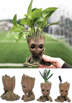 Baby Groot planter. Plant sold separately. Use any succulent or air sustained plant. Finished product takes 1 week from order and ships upon completion. Each one is hand Painted and unique. Not one is alike