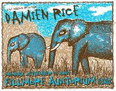 Original silkscreen concert poster for Damien Rice at The Fillmore in Denver, CO. 23x31 inches on card stock.  Art by Lindsey Kuhn.