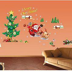 Merry Christmas Santa Claus Tree Wall Sticker Removerable DIY Window Door Wall | Home & Garden, Home Décor, Decals, Stickers & Vinyl Art | eBay!