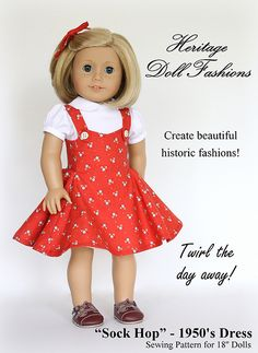 Doll Clothes Pattern Sock Hop 1950's dress Heritage Doll Fashions PDF Download