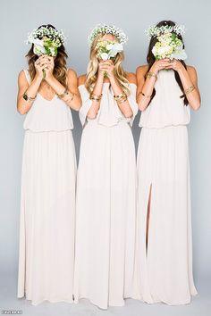 Mumu bridesmaid dresses in cream