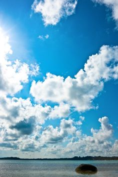 Clouds and blue sky at Belitung, east coast of Blue Sky Clouds, White Clouds, Blue Skies, Above The Clouds, Places Around The World, Night Skies, Aqua Blue, The Great Outdoors, Sunrise
