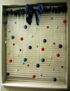 Great Christmas window treatment idea