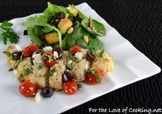 Greek Style Panko Crusted Chicken Breasts topped with Tomatoes, Kalamata Olives, Feta, and Basil AND a Giveaway!