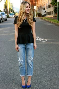 peplum with bf jeans and heels