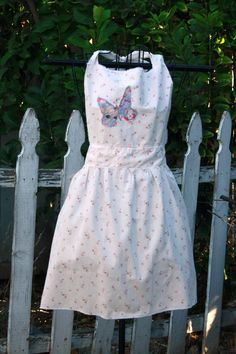 Shabby Chic Floral Apron With Butterfly by Geminivintagestore, $35.00