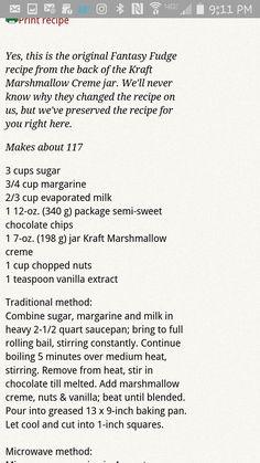 Original Fantasy Fudge Recipe using marshmallow fluff! Fudge Recipes, Sweets Recipes, Candy Recipes, Christmas Cooking, Christmas Desserts, Christmas Candy, Retro Recipes, Vintage Recipes, Original Fantasy Fudge Recipe