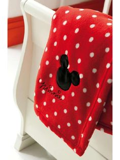 Minnie Mouse Embroidered Red Fleece Blanket - Love this for her next room redesign