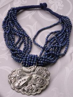Lapis lazuli with Chinese silver pendant