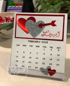 CD Calendar 2018 - Red Foil, Silver Glimmer Paper, Full Heart, xxx Heart & What's Up (arrow) punches Calendar Board, Calendar 2018, Calendar Ideas, Calendar Pages, Desk Calendars, Holiday Greeting Cards, Valentine Day Cards, Valentines, Perpetual Birthday Calendar