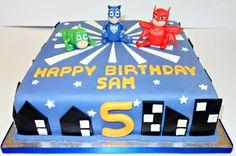 PJ masks themed cake. www.cakeseven.wix... Facebook- Cake7. Twitter- Cake7 email: cake.seven@aol.co.uk phone: 07731 882 988