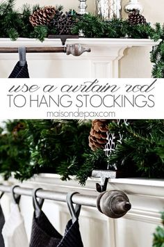 Classy (and cheap!) DIY stocking holder: use a curtain rod Classy (and cheap!) DIY stocking holder: use a curtain rod Christmas Mantels, Christmas Home, Christmas Holidays, Christmas Crafts, Christmas Ideas, Apartment Christmas, Classy Christmas Decorations, Christmas Bedroom, Outdoor Christmas