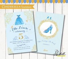 ♥ ♥ ♥ DIY PARTY PRINTABLES - CINDERELLA BIRTHDAY INVITATION ♥ ♥ ♥  Print, cut and send the invitations to your guests. Have a great moments and enjoy