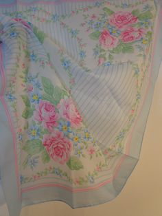 Sheer Pale Girly Flower Roses Print Vintage Scarf 60s 70s Fashion Accessory, Kawaii, Lolita Style by POPWILDLIFE on Etsy