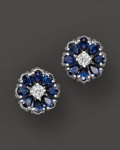 Sapphire and Diamond Flower Stud Earrings in 14K White Gold