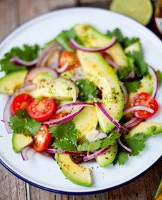 Fresh Guacamole Salad: avocado, red onion, cilantro, cherry tomatoes, S&P Dressing: juice & zest of 1 lime, 1 tsp tabasco sauce, 3 T EVOO