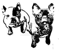 French Bulldog Block Print by voraciousink.deviantart.com