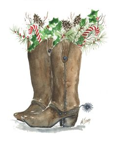 Christmas Boots, Watercolor by Marilyn Jonas, Western