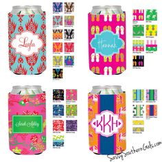 Monogrammed Can Koozie Personalized Can by SassySouthernGals