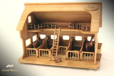 Wooden farm for domestic animals with figurines, finished with natural oils and beeswax. 100% solid wood.  Our wooden farms are biodegradable, do not pose any risk to children's health. All our produscts are made of solid wood and finished with natural oils and beeswax.  We offer you the possibility to personalize this wooden animals farm. You can add a message (text or vector image). It will be printed on the front roof.  Our set included 6 domestic animals, hay and fences for outdoor. Wooden Toy Farm, Wooden Toys, Wooden Animals, Farm Animals, Pet Toys, Kids Toys, Handmade Birthday Gifts, Farm Toys, Farm Barn