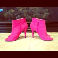 Host PickPink booties Cute pink bootie heels, suede-like material. Fabric upper, leather outsole. Used one time. 4 inch heel. Shoe Dazzle Shoes Ankle Boots & Booties