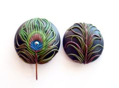 Portuguese Knitting Pin - Magnetic Portuguese Knitting Pin - Knitting Hook - Handmade Knitting Pin, Peacock Feather